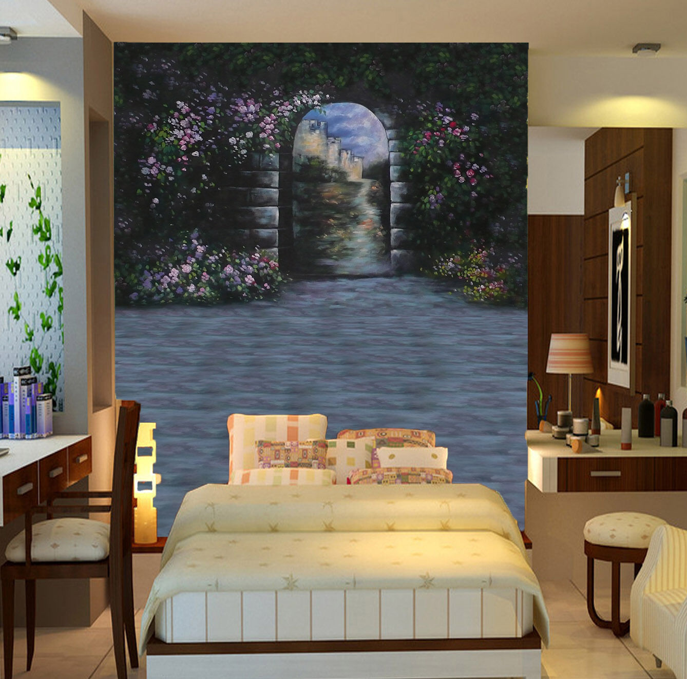 3D Arches Flowers 2080 Wall Paper Wall Print Decal Wall Deco Wall Indoor Murals