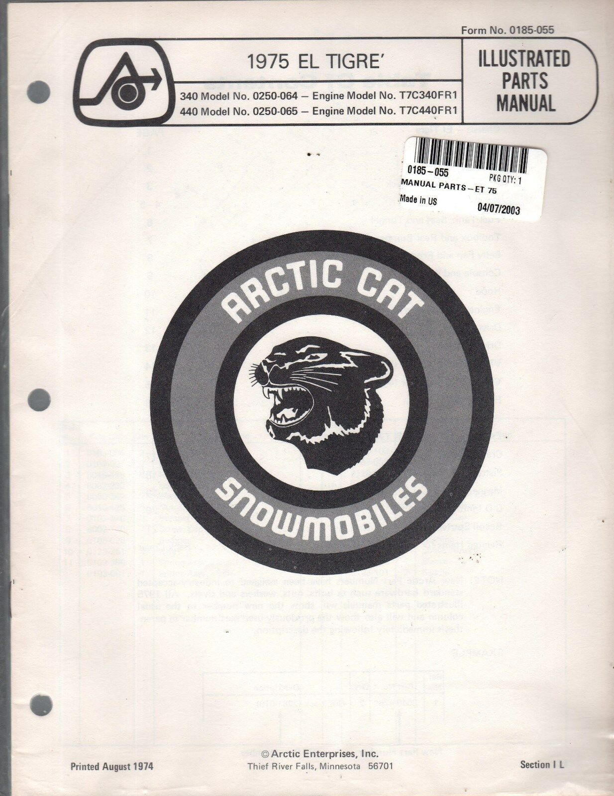 1975 N.O.S. ARCTIC CAT SNOWMOBILE EL TIGRE  PARTS MANUAL P N 0185-055 NEW (972)