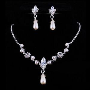 Bride-Wedding-Rhinestone-Necklace-Earrings-Women-Party-Diamond-Jewelry-Set-US