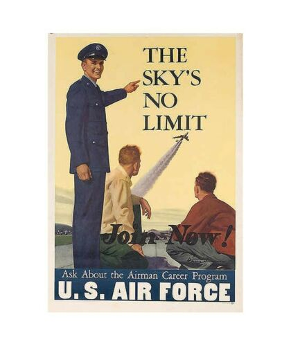 us air force the skys no limit 1960s patriotic propaganda poster kitchen decor
