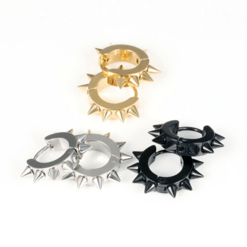 Punk Pointed Rivet Men/'s 316L Stainless Steel Hoop Earrings Fashion Jewelry