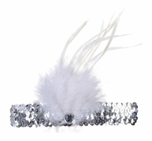 SILVER SEQUIN  FEATHER HEADBAND 20s 1920s FANCY DRESS CHARLESTON BROW BAND FLAPP