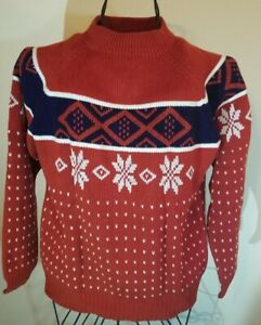 Mens Vintage 70s 80s Fair Isle Nordic Sweater Jumper Shawl Collar Size Large