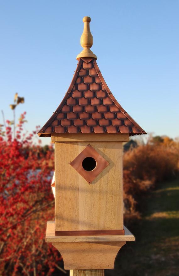 Good Directions perezoso Hill Farm Mango Pájaro Casa Mango Wood cobre shingled techo
