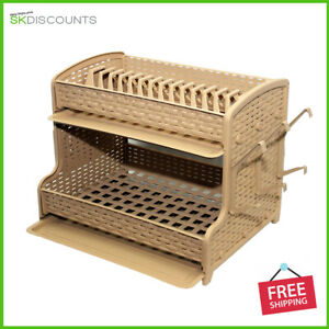 2-Tier-Plastic-Dish-Drainer-2-Drip-Trays-Glass-Plates-Rack-Kitchen-GIFT-Cream