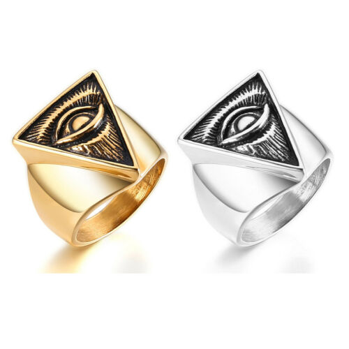 Jewelry Titanium Steel Vintage Triangle All Seeing God/'s Eye Masonic Men Rings