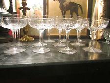 8 anciennes grandes coupes champagne vin cristal taillé art deco 1940 st louis
