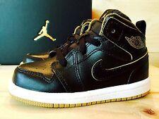 NIKE AIR JORDAN 1 Retro Mid BLACK + METALLIC GOLD Toddler Boys Kids Shoe Size 9