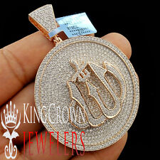 Real Rose Gold Sterling Silver Lab Diamond Allah God Pendant Medallion 2.75''