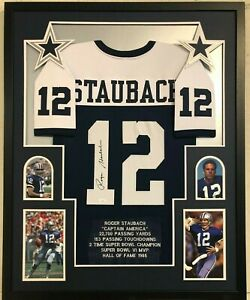 ccd173a0 Details about FRAMED DALLAS COWBOYS ROGER STAUBACH AUTOGRAPHED SIGNED STAT  JERSEY JSA COA
