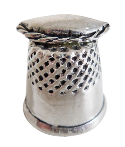 Collectible-Cornish-Pewter-Thimble-With-Pasty-Hand-Made-In-Cornwall