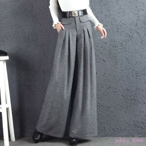 Womens-Autumn-Winter-Wool-Blend-Wide-Leg-Pants-Pleated-slacks-straight-leg-pants