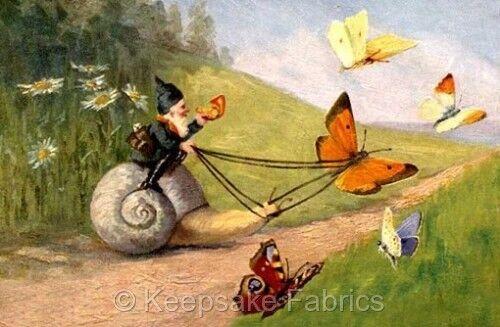 Fantasy Gnome Snail Butterflies Quilt Block Multi Szs