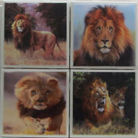 Set Of 4 - Handmade Natural Stone Ceramic Tile Drink Coasters - Lions 1- A