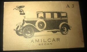 1929 AMILCAR SEDAN - Giant Brand Licorice Sweets Australian Trade Card RARE