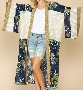 New Gigio By Umgee Duster Kimono S Small Navy Blue Floral Lace Boho Peasant
