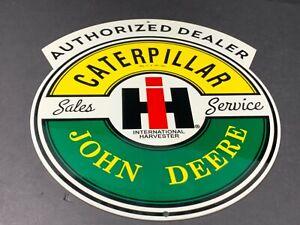 "VINTAGE CATERPILLAR JOHN DEERE INTERNATIONAL HARVESTER 12"" METAL GAS & OIL SIGN"