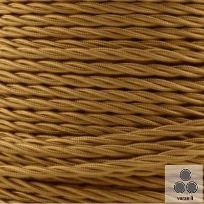 meterware Stromkabel Gold 3 Adrig 3 X 1,5mm² Verseilt Stoffkabel Textilkabel
