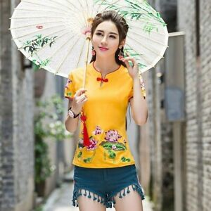 Lady-Floral-Embroidery-Shirt-Top-Short-Sleeve-Slim-Chinese-Ethnic-Retro-Blouse