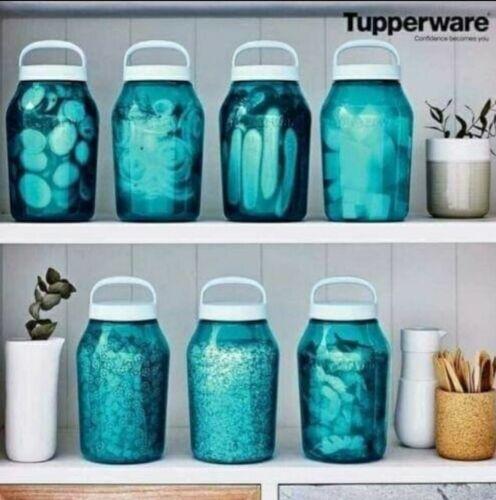 Tupperware Universal 3 Qt 3 L Jar Blue with White Twist on Lid Seal NEW