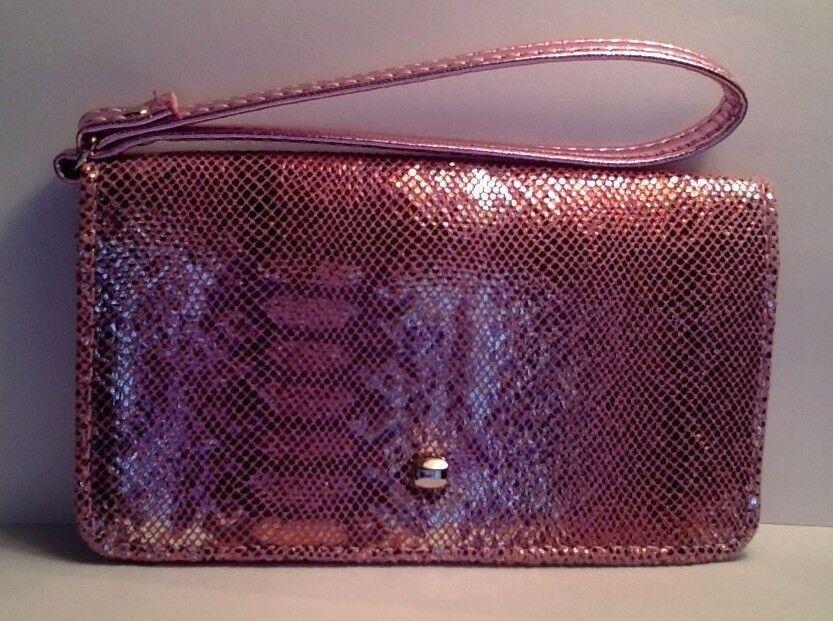 NEW Pink Metallic Snake Wristlet Wallet Universal Cell Phone Case iPhone LG ATT