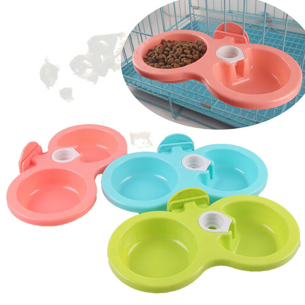 BG_ Hanging Food Water Dual Bowl For Crate Cages Coop Dog Pa