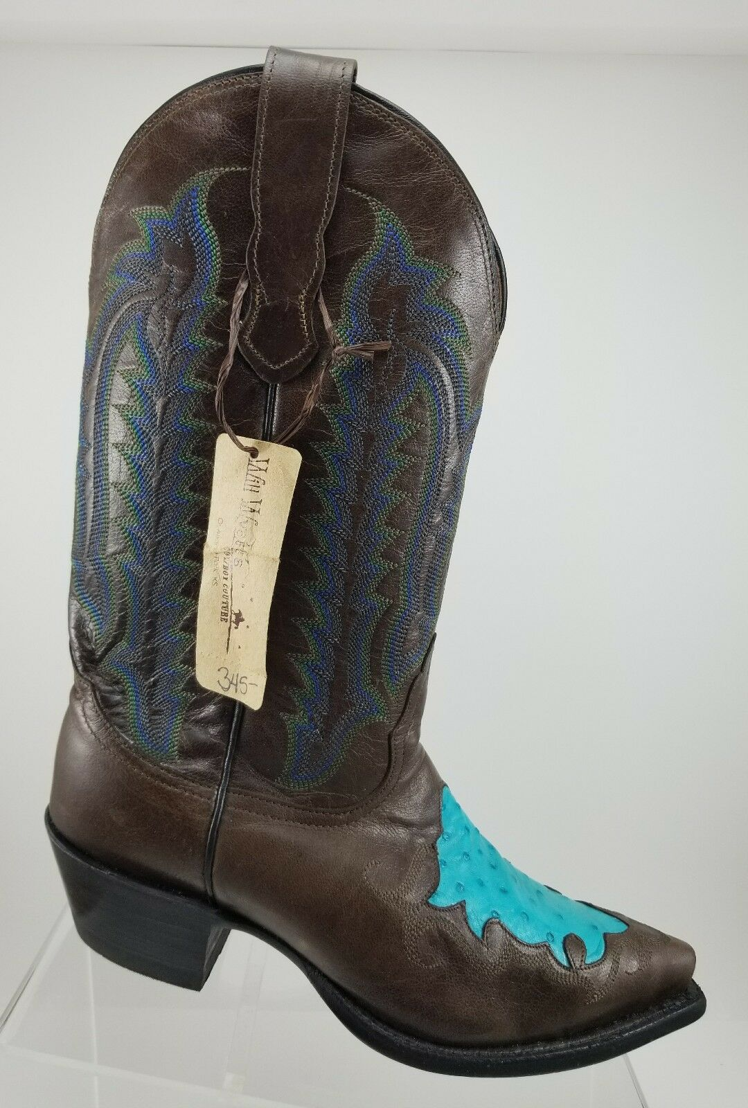 Womens Nocona Western Cowgirl Full Ostrich Quill Turquoise Toe Zip Up Boots 6.5M