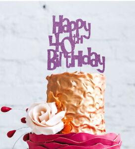 Image Is Loading Happy 40th Birthday Cake Topper Glittery Light Purple