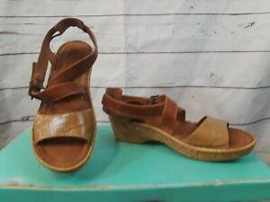 48d3132ee10e Josef Seibel Brown Leather Cork Wedge Sandals Open Toe Shoes Womens ...