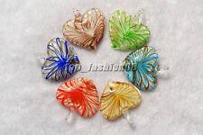 FREE Wholesale lots 24pcs Heart Lampwork Glass Pendants DIY Necklace