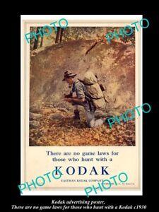 OLD-HISTORIC-PHOTO-OF-KODAK-CAMERA-ADVERTISING-POSTER-NO-HUNTING-LAWS-c1930