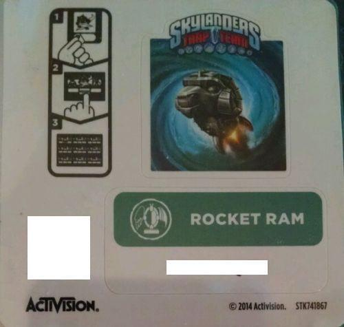 Rocket Ram Skylanders Trap Team Sticker Code Only!