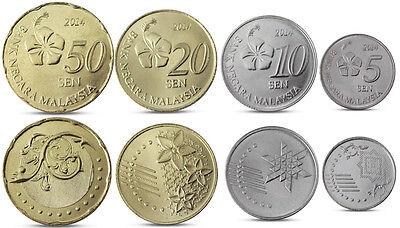 Malaysia set of 4 coins 5-50 sen 2012 UNC
