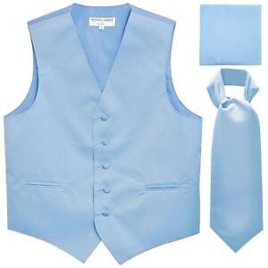 New Men's Solid Tuxedo Vest Waistcoat & Ascot Cravat Set Light Blue wedding prom