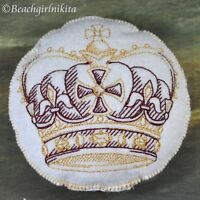 Embroidered Felt Gold Crown Pin Cushion Or Bjd Doll Accessory 4 Pillow Stuffie