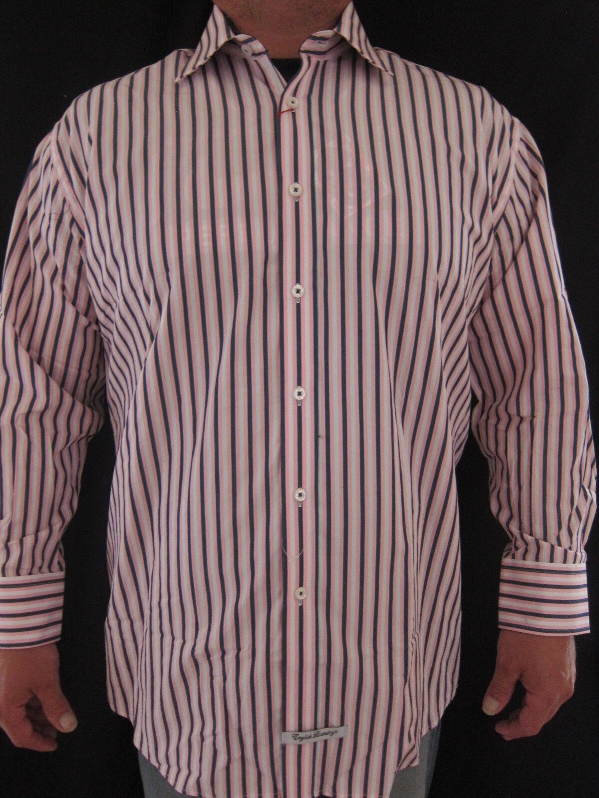 ENGLISH LAUNDRY Christoper Wicks 100% baumwolle Striped Dress hemd 17.5 32 33 NWT