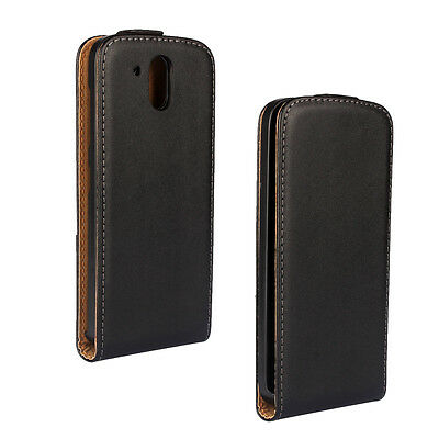 Slim Black Magnetic Genuine Flip Leather Hard Case Cover For HTC Desire 526G