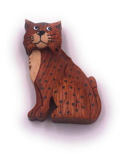 Sitzende Katze gepunktet Haustier Stubentiger Handmade Kühlschrankmagnet