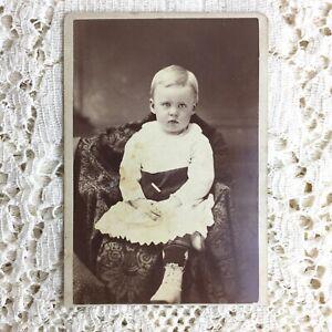 Antique CDV Photo Little Boy Pouting Dress Lace Up High Boots 1870s Victorian IL