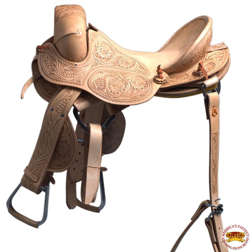 Hilason Classic Series HandMade Rodeo Bronc American Leather Saddle U06BZ