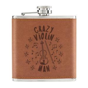 Crazy-Violon-Homme-Stars-170ml-Cuir-PU-Hip-Flasque-Fauve-Papa-Fete-des-Peres