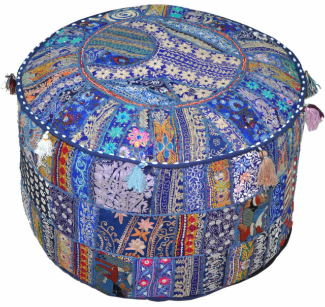 Round Pouffe Cover Indian Handmade Vintage Cotton Footstool Ottoman Patchwork