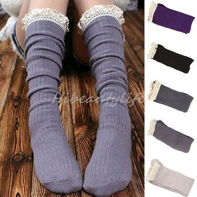 Women Warm Knee High Boot Slouch Socks with Crochet Knit Lace Trim Cuff Topper