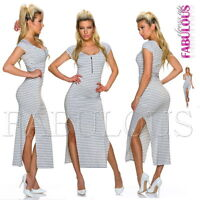 Sexy Striped Summer Maxi Dress Side Front Split Stripes Size 6 8 10 12 XS S M L