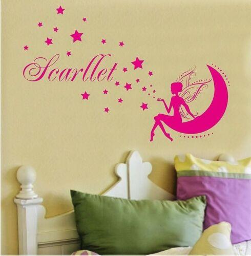 Fairy Wall Stickers Personalised Any Name Stars Girls Bedroom Kids Art Vinyl