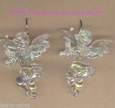 Funky CUPID CHERUB VIOLIN EARRINGS-Baby Angel Musician Charms Jewelry-IRIDESCENT