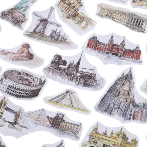 42pcs cities tower label stickers DIY scrapbooking stickers travel world sticker