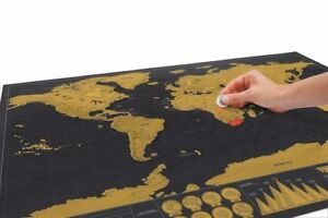 Traveller World Map Scratch Off Large Size Holiday Poster Wall Paper Gold New