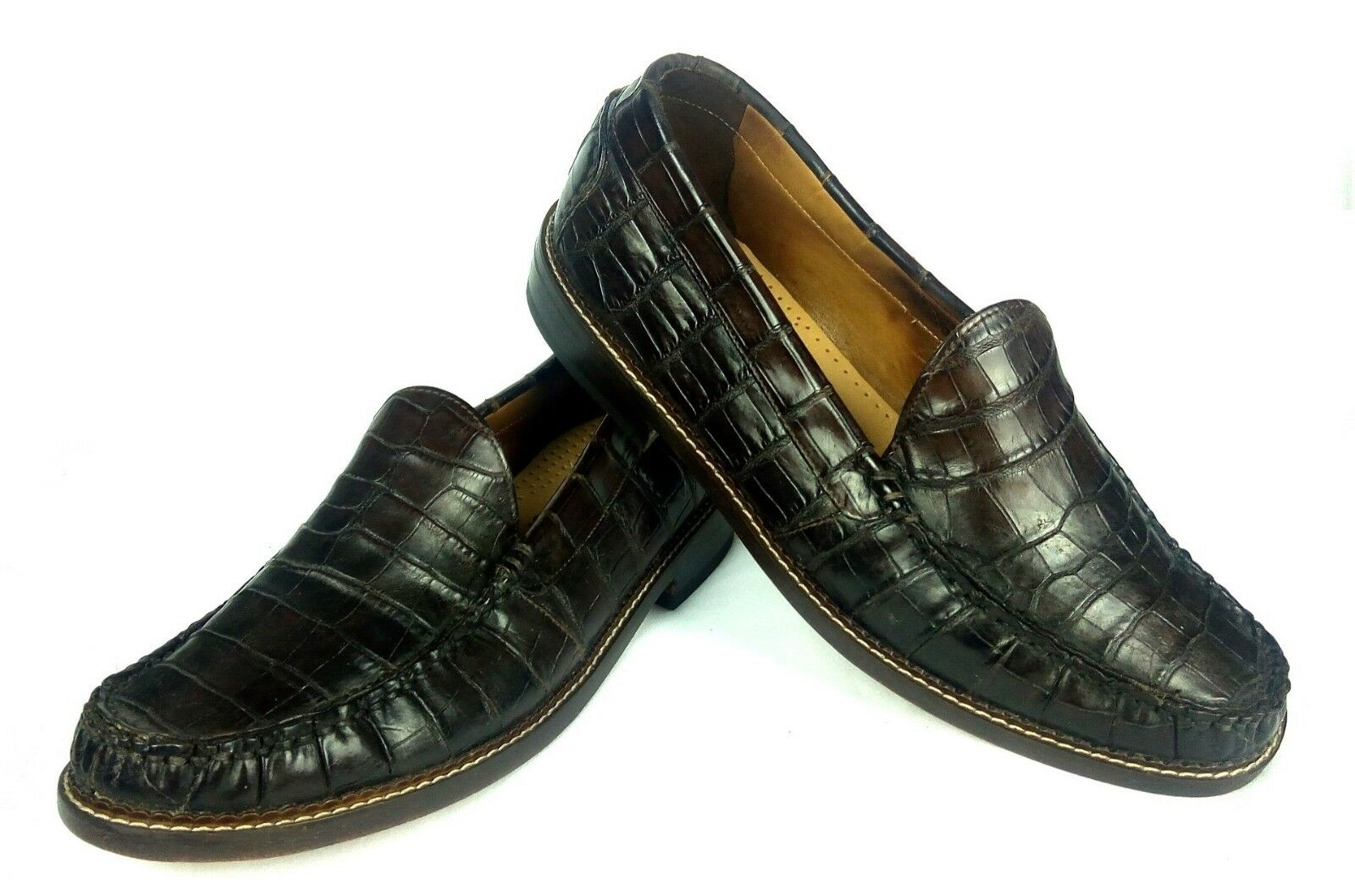 100% Authentic POLO Ralph Lauren Alligator Loafers Brown 8 (fits 6.5 7)