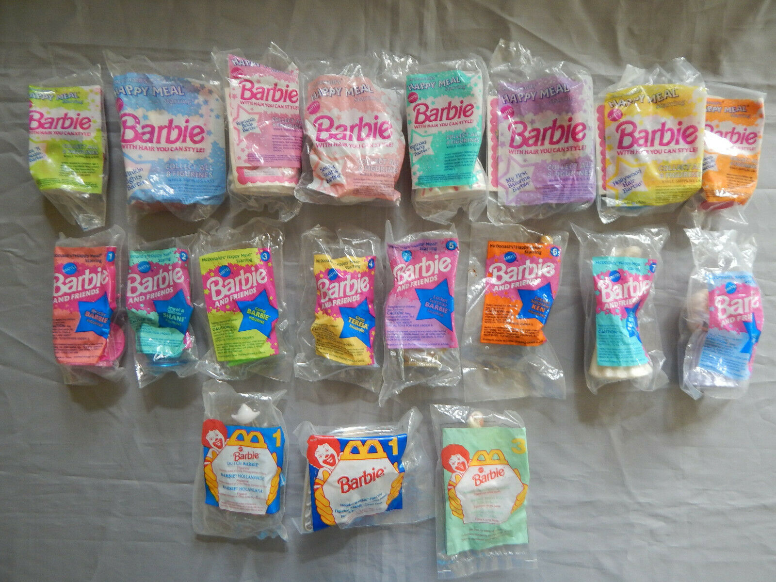 19 mcdonalds toys ALL BARBIE dolls 2 complete sets 1992 1994 + extras happy meal
